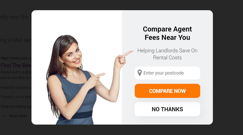 Estate agent blog pop up